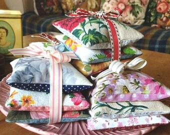 Lavender Sachets, Vintage Fabric Lavender Sachets, Lavender Bags, Lavender Pillows, Lavender Gifts, Scented Drawer Satchets, Scented Gifts