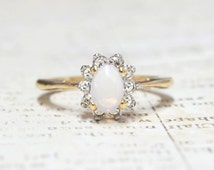 Vintage Genuine Jelly Opal ring with Clear Austrian Crystals on Two Tone Accent October Birthstone Color Made in USA #R1291