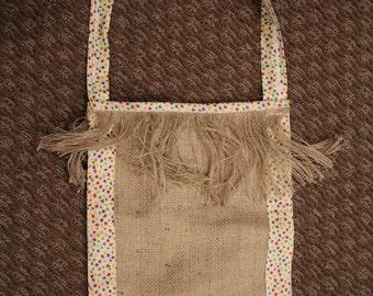 Handmade Burlap Shoulder Bag with Fringe
