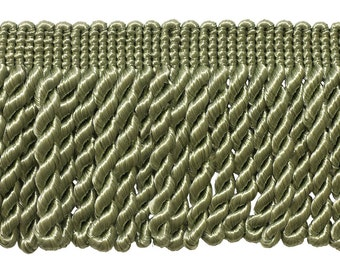 "5 Yards of 3"" Long Bullion Fringe Trim, Color: SAGE GREEN - L83 (15 Ft / 4.5 M)"