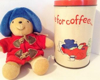 Vintage Paddington Bear stuffed toy and storage tin