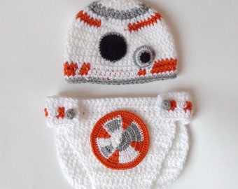 BB-8 Droid Costume Hat And Diaper Cover From Star Wars BB 8 - Premie, Newborn, Child, Teen, Adult - Halloween / Cosplay
