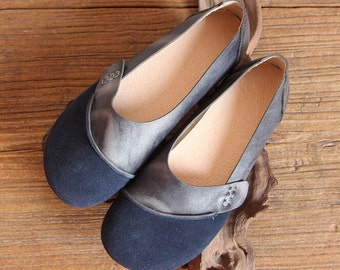 Handmade Women Leather Shoes, Blue Oxford Soft Shoes, Flat Shoes, Retro Leather Shoes, Casual Shoes, Slip Ons, Loafers