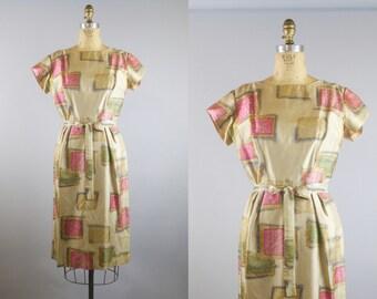 Silk Squares Dress / 50s Dress / 1950s Silk Wiggle Dress