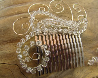 Swarovski Clear Crystal Bridal Hair Comb/ Handmade/ Handcrafted/ Bride/ Bridal