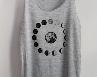 Moon Phases Vintage Tank Top Art  T-Shirt Galaxy Shirt Shirt Women Shirt  Women T-Shirt Tunic Top Vest Sleeveless Size S,M,L