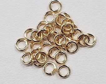 100 Pieces - Gold Filled 3mm Open (22 Gauge or 24 Gauge) Jump Ring, Made in the USA
