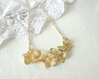 Orchid Necklace, 14K Gold Fill Pendant, Flower Necklace