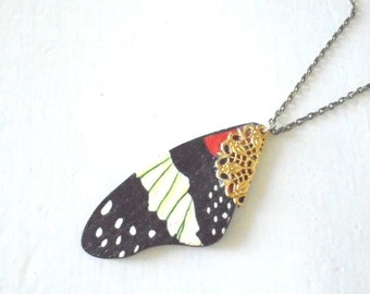 Butterfly Wing Necklace, Wooden Pendant, Nature Inspired, Antiqued Brass