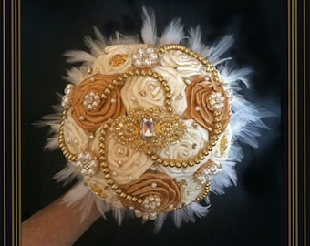 Brooch Bouquet, Gatsby Bouquet, Hollywood Glam Bouquet,  Feather Bouquet, Gold & Ivory Brooch Bouquet, Deposit ,Full Price 350.00