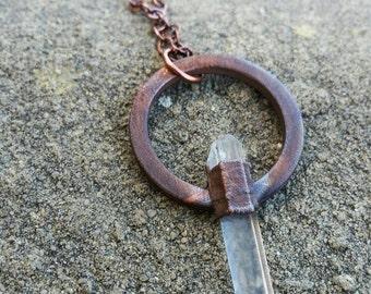 Electroformed Copper Crystal Necklace / Quartz / Electroform / Crystals / Jewelry