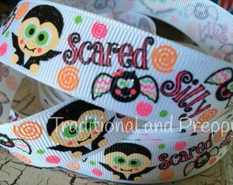 "7/8"" Halloween Scared Silly Bat monster grosgrain ribbon"