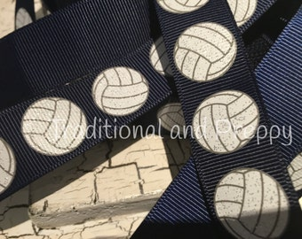 "3 yards 7/8"" Glitter Soccer ball grosgrain ribbon on navy"