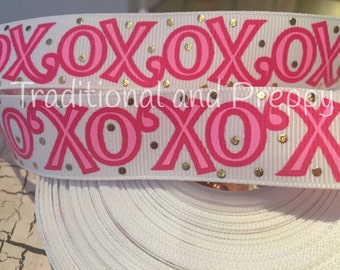 "7/8"" Valentine XOXO Love Gold Foil Dot grosgrain ribbon sold by the yard"