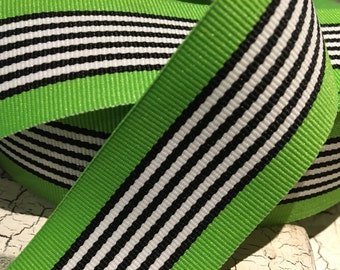 "3 yards 1.5"" Preppy Green Black and White White Stripe Grosgrain Ribbon sold by the yard"