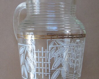 SALE was 18! Anchor Hocking Mid Century Glass Pitcher 2 quarts gold and white rattan bamboo lattice pattern.