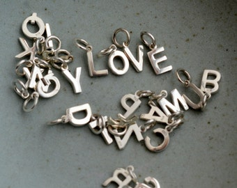 Silver Initial Charms, Alphabet, Letter, Capital Letters, Modern, Sterling Silver, Personalize,Initials,Monogram,Initial Bracelets,One Charm