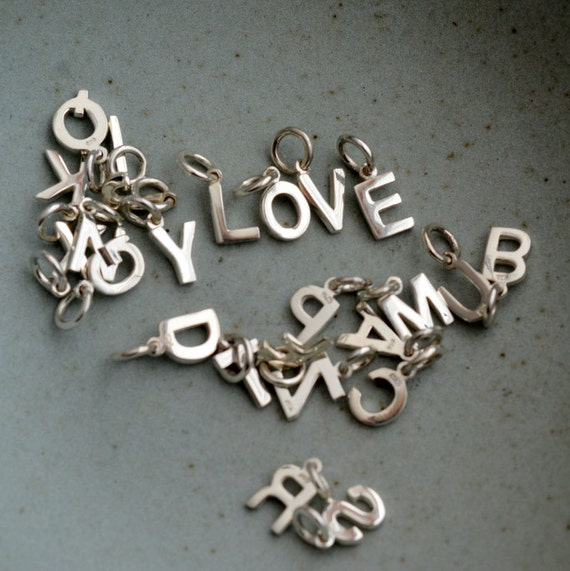 Initial Charms For Bracelets: Silver Initial Charms Alphabet Letter Capital Letters