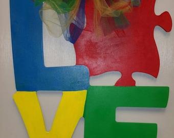 Autism Awareness Love Door Hanger
