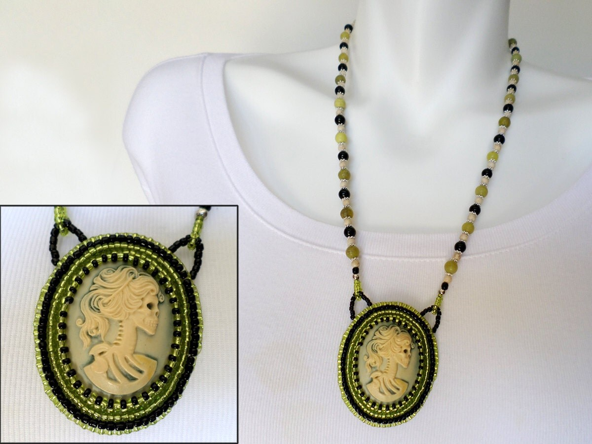 Bead embroidery necklace skeleton cameo pendant halloween