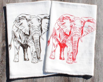 Cotton Kitchen Towel Set - Screen Printed Organic Cotton - Flour Sack Material - Elephant Tea Towels - Perfect Towels for Dishes - African
