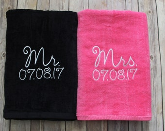 Mr. & Mrs. Beach Towel Gift Set Black and Pink Towel, Perfect Wedding Gift