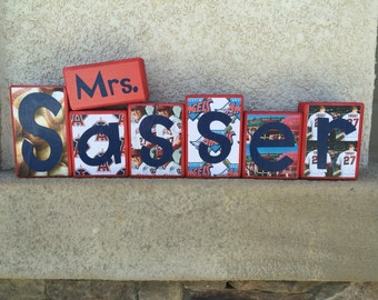 Teacher's Name blocks - Anaheim Angels theme