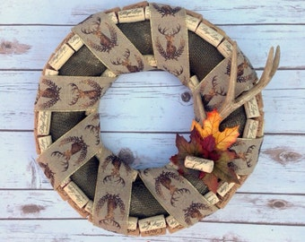 Wine Cork Wreath with Stag's Leap Cork and Stag Print Burlap Ribbon and Faux Antler