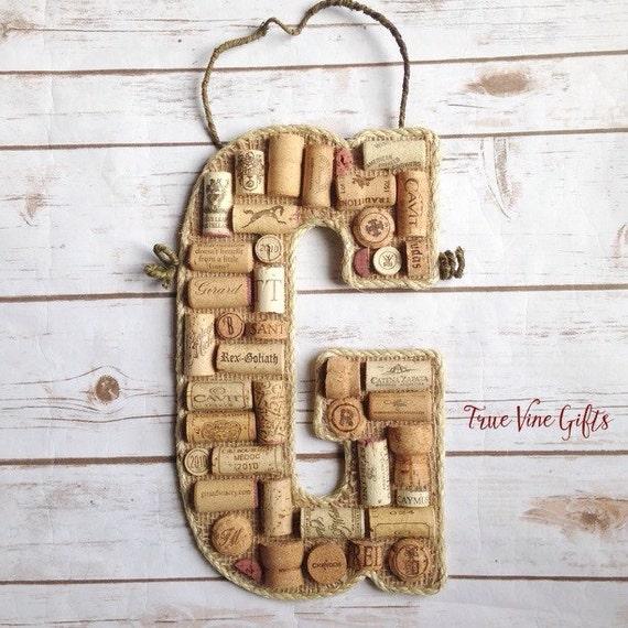 wine cork letter g doorhanger by truevinegifts on etsy With wine cork letter g