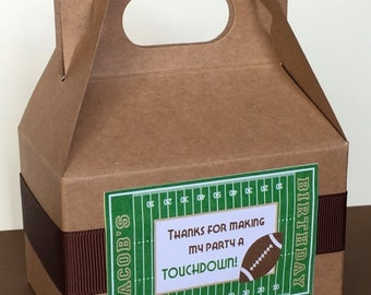 10 Football Party Favor Boxes, Mini Gable Boxes, Personalized, Customized for your event