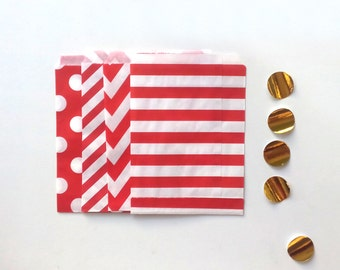 24 Red Paper Bags Party Goodies Sweets in 4 designs with gold stickers