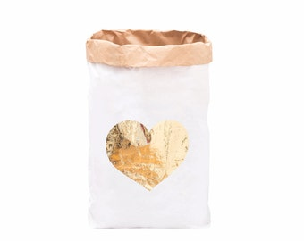 Paper Storage Bag - Gold Heart