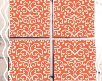 Orange & White Classic Tile Coaster Set