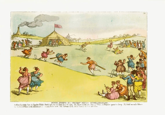 Large vintage 1962 print of 19th century ladies cricket match, very bawdy and amusing, print of 1800's watercolor drawing by T Rowlandson
