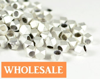 Matte Silver Spacer, 4.5mm, Faceted Spacer, Diamond Cut Bead, Tarnish Resist Bead, Solid Brass Bead, 2.5mm Hole, WHOLESALE -90+ PCS/ order