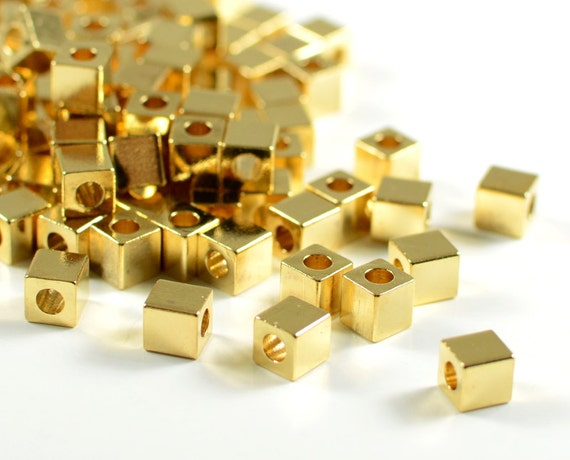 Gold Cube 4mm, square spacer beads, smooth edge, 24k electroplated gold, brass beads, light weight  - 25 pcs/ pkg