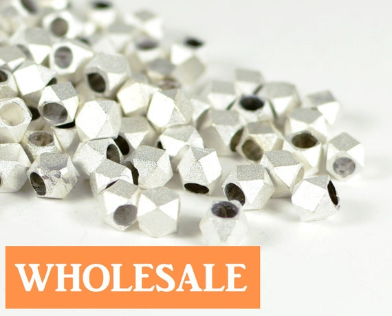 WHOLESALE 4.5mm Faceted spacer, metal spacer bead, matte brushed silver spacer - 90+ PCS per strand