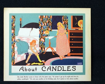 Charlotte Stone Color Illustration Lithograph entitled About Candles * Delightful 1935 Childrens Book Page Print Beautiful Full Color