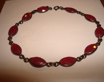 Victorian Style Marquise Rose Cut Genuine Red Ruby Black Gold / 925 Sterling Silver Bracelet 7.25