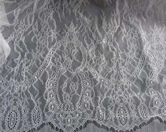 """Chantilly Eyelash Lace Fabric in off white  for Wedding Gowns,3 Yards*59"""" white eyelash lace fabric, black eyelash lace fabric-T009"""