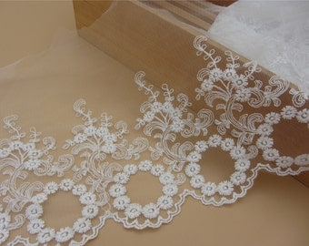 1yard DIY Lace trim online store flower embroidered ribbon DIY material lace belt white trim lace for wedding