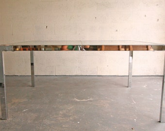 Vintage Milo Baughman Dining Table: Chrome, Glass, Mid Century Modern