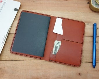 Passport Holder Leather Cover Travel Wallet - Chestnut - Travel Wallet - Slim Two Card Pocket and Two Passport Case
