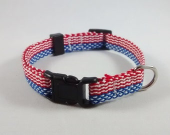Handwoven adjustable cat collar with breakaway safety buckle - Red, white, and blue; Optional tag