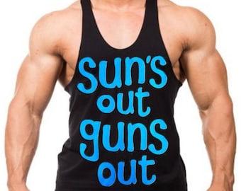 Blue Suns Out Guns Out  Men's Workout Stringer Tank Top Y Back Black XS-2XL