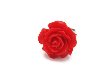 Red  Flower Ring Red Rose Ring Kawaii Adjustable Ring Statement Ring Cosplay Jewelry Flower Jewelry Red Rose Jewelry