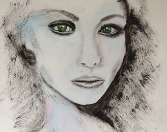 Abstract Black and White Art/Painting of Woman
