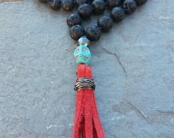 Lava bead tassel necklace