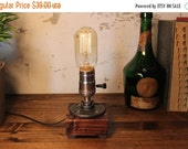 20% OFF SALE Industrial Lighting - Steampunk Lamp - Table Lamp - Edison Light - Vintage Light - Pipe Lamp - Bedside Lamp - Rustic Lighting -