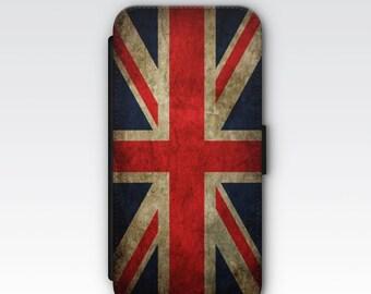 Wallet Case for iPhone 8 Plus, iPhone 8, iPhone 7 Plus, iPhone 7, iPhone 6, iPhone 6s, iPhone 5/5s  - Vintage Union Jack Flag Case